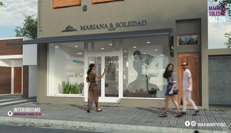 MARIANA Y SOLEDAD SALON: Galerías y espacios comerciales de estilo  por RUKA arquitectas,Moderno