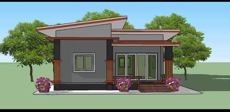 แบบบ้านหลังเล็กๆ 2ห้องนอน สไตล์โมเดิร์น:   by รับสร้างบ้าน แบบบ้านราคาถูก by bank