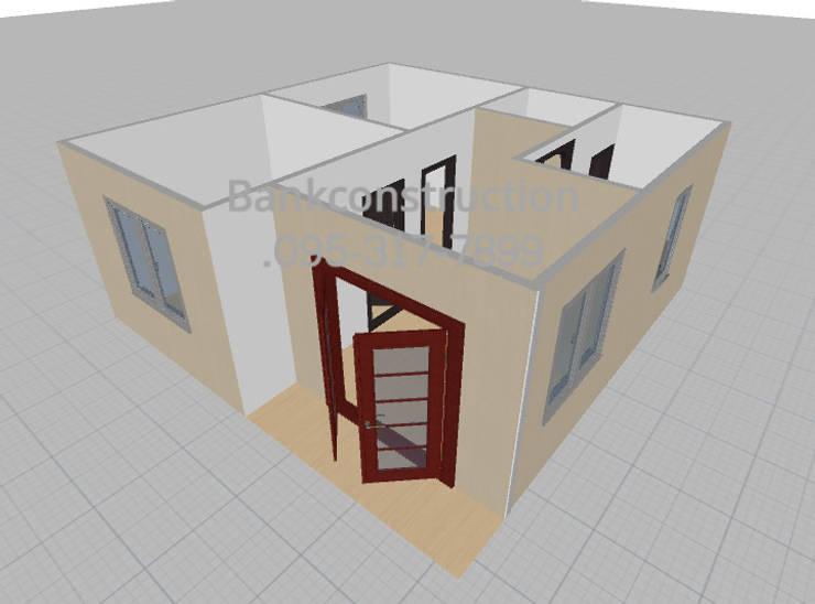 แบบบ้านหลังเล็กๆ 2ห้องนอน สไตล์โมเดิร์น ราคาถูก:   by รับสร้างบ้าน แบบบ้านราคาถูก by bank