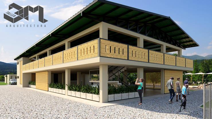 Salón social y de eventos  Anzoátegui - Tolima (Colombia): Fincas de estilo  por Taller 3M Arquitectura & Construcción