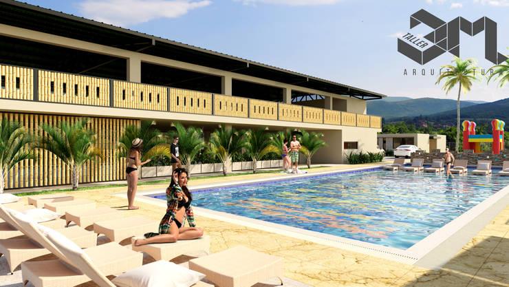 Piscina  Anzoátegui - Tolima (Colombia): Piscinas de jardín de estilo  por Taller 3M Arquitectura & Construcción