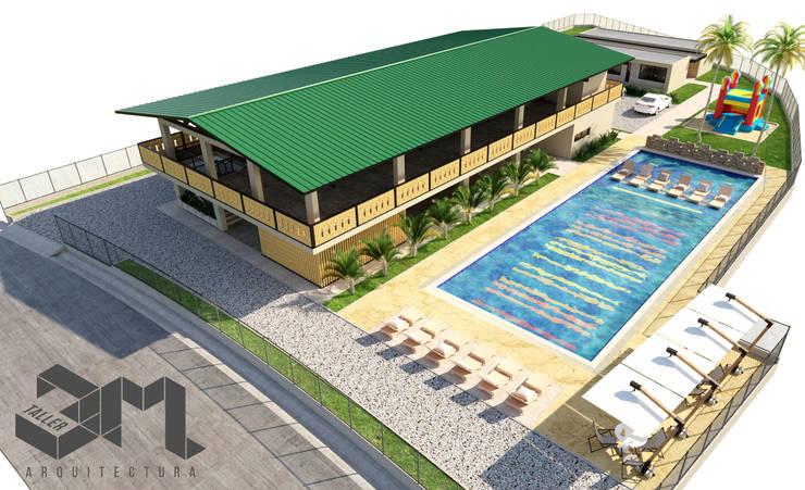 imagen aérea  Salón social y de eventos  Anzoátegui - Tolima (Colombia): Piscinas de jardín de estilo  por Taller 3M Arquitectura & Construcción