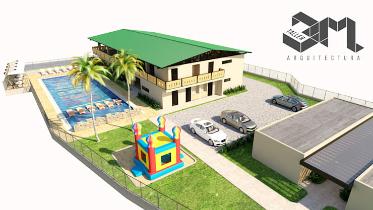 imagen aérea  Salón social y de eventos  Anzoátegui - Tolima (Colombia): Fincas de estilo  por Taller 3M Arquitectura & Construcción