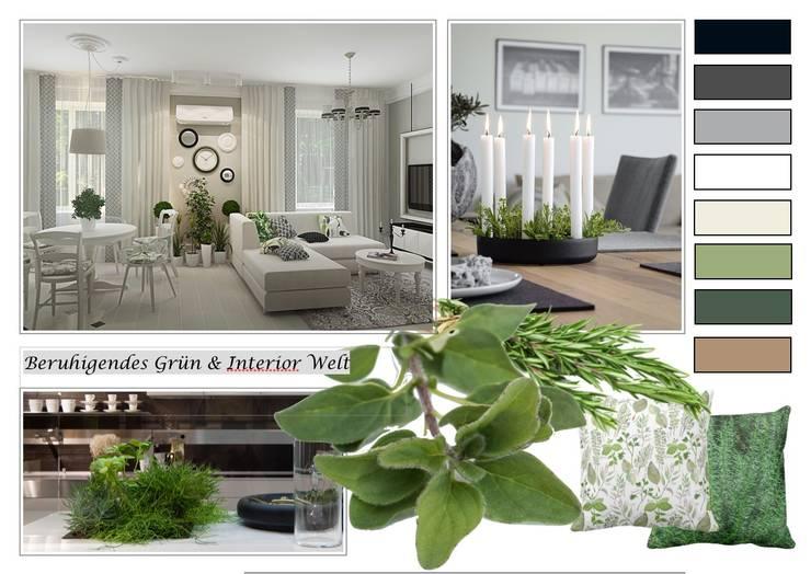 Beruhigendes Grün-Design:  Wohnzimmer von NK-Line