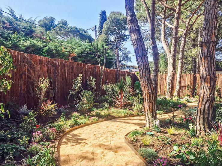 Jardín mediterráneo tropical: Jardines de estilo  de Nosaltres Toquem Fusta S.L.