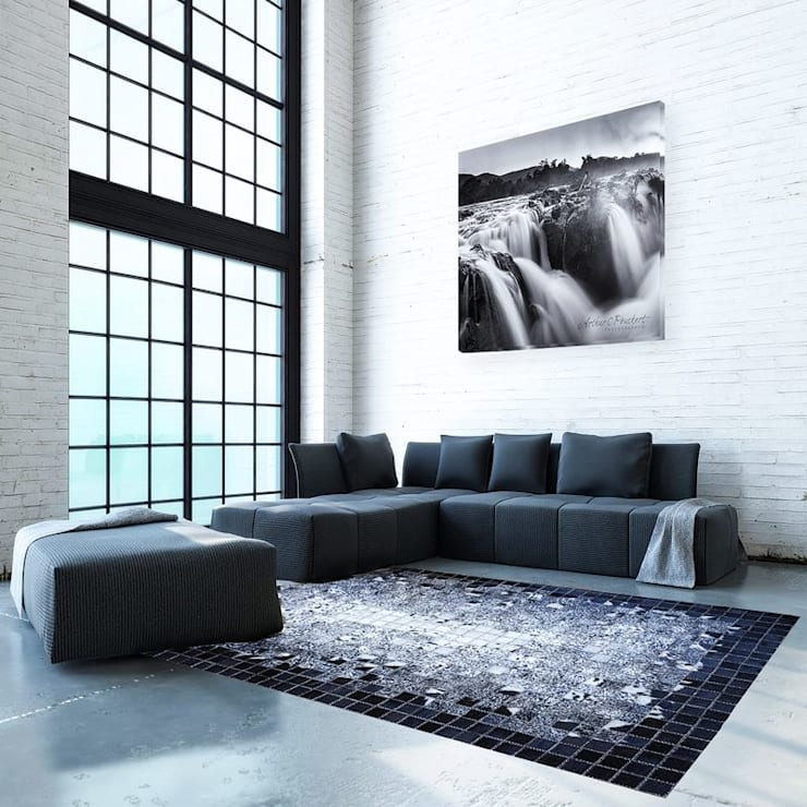 Bespoke hand-stitched cowhide rugs:  Living room by Inkomo Products