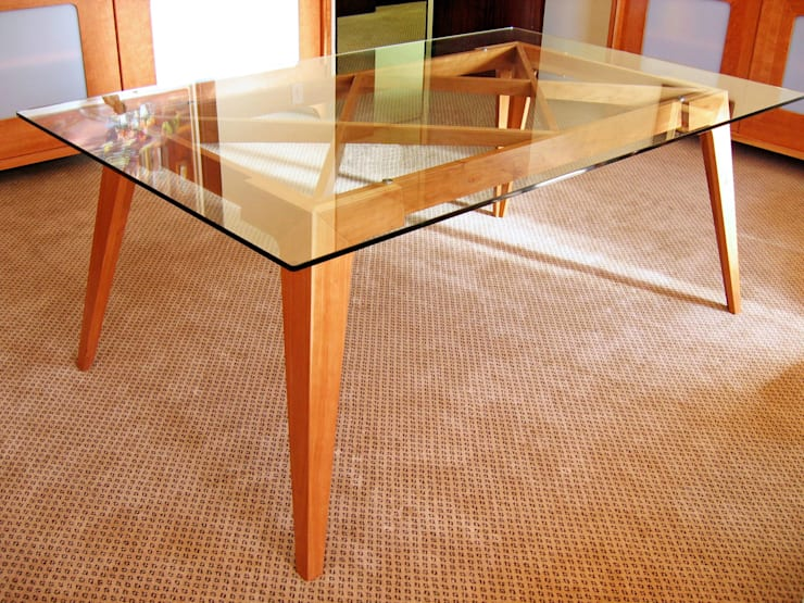 Rectangular Conference Table with Glass Top:  Study/office by REIS