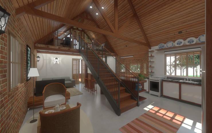 Casa Rosa: Escadas  por Quatro Fatorial Arquitetura e Urbanismo