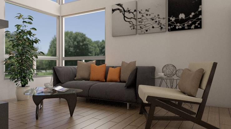 Living room by URBAO Arquitectos, Modern Wood Wood effect