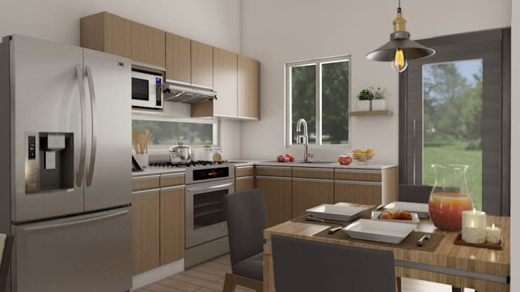 Small kitchens by URBAO Arquitectos, Modern Wood Wood effect