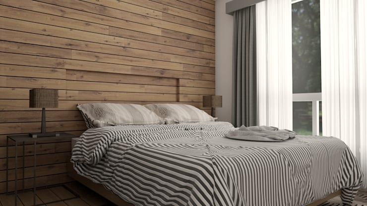 Small bedroom by URBAO Arquitectos, Modern Wood Wood effect