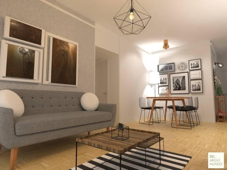 Combinacion de Escandinavo con Industrial: Livings de estilo  por Arquimundo 3g - Diseño de Interiores - Ciudad de Buenos Aires,