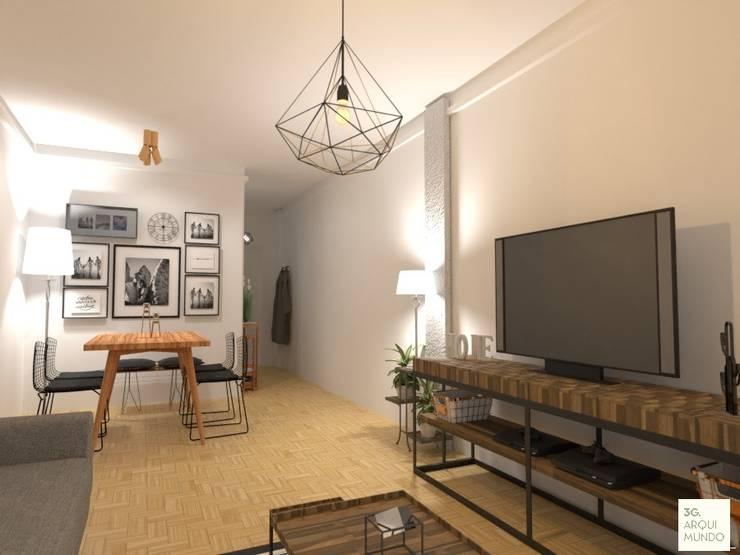 Comdedor y Living : Livings de estilo  por Arquimundo 3g - Diseño de Interiores - Ciudad de Buenos Aires,