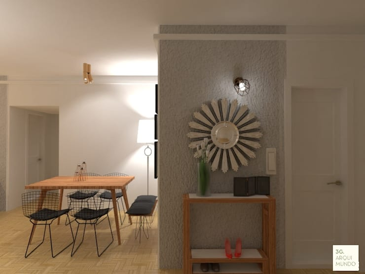 Acceso a la viviendoa con botinero: Pasillos y recibidores de estilo  por Arquimundo 3g - Diseño de Interiores - Ciudad de Buenos Aires,