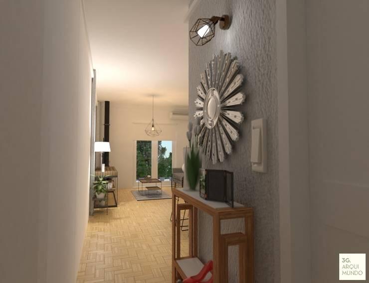 Acceso principal.: Pasillos y recibidores de estilo  por Arquimundo 3g - Diseño de Interiores - Ciudad de Buenos Aires,