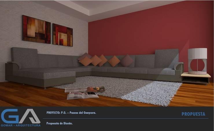 P. G. - Paseos del Guaycura: Salas de estilo  por  Gomar Arquitectura