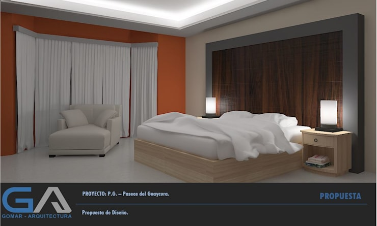 P. G. – Paseos del Guaycura: Recámaras de estilo  por  Gomar Arquitectura