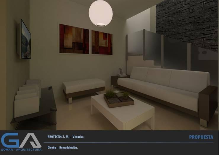 Z. M. – Hacienda Los Venados: Salas de estilo  por  Gomar Arquitectura