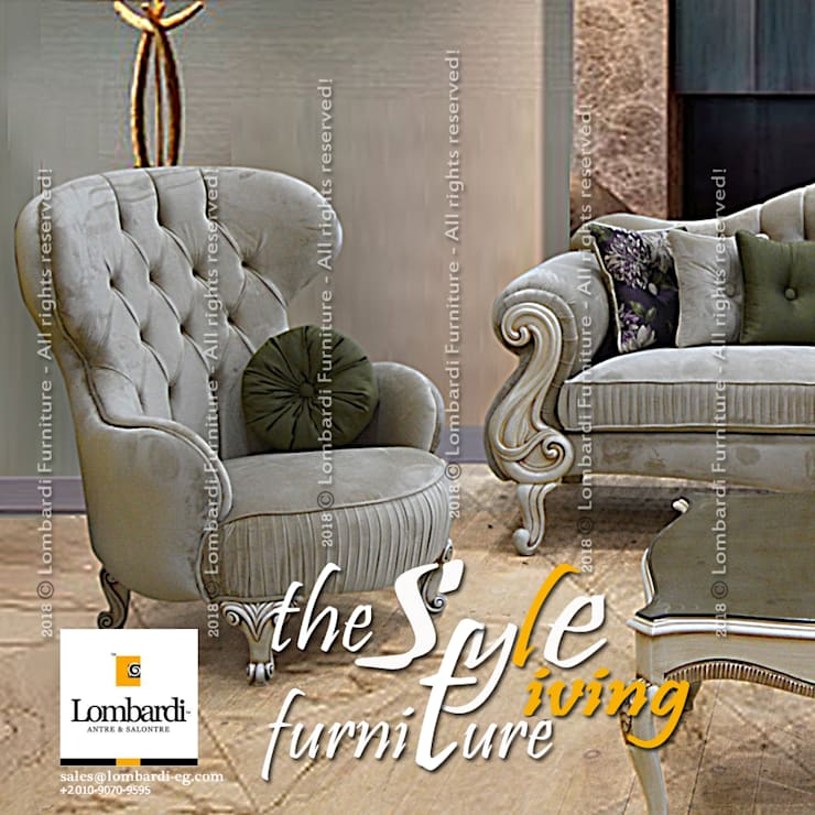 Premium Seating Furniture for Interior Design Projects & Retail Showrooms … inspired by Lombardi Furniture!!:  Living room by Lombardi Furniture