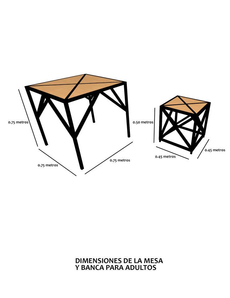 Mesa y banco para adulto.:  de estilo  por Creer y Crear. Arquitectura/Diseño/Construcción, Ecléctico