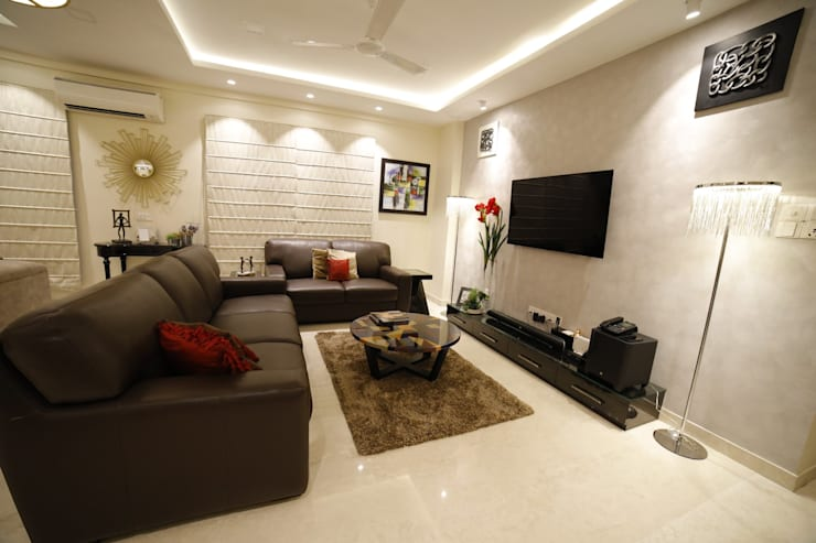 LIVING ROOM:  Living room by Rashi Agarwal Designs,Minimalist Wood Wood effect