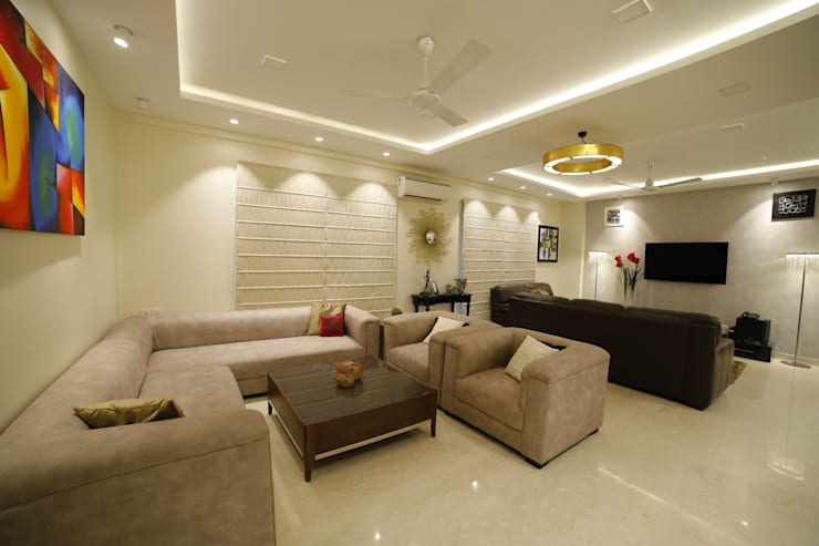 LIVING ROOM:  Living room by Rashi Agarwal Designs,Minimalist Glass