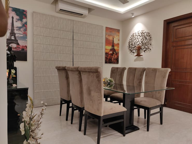 Dining Area:  Dining room by Rashi Agarwal Designs,Minimalist