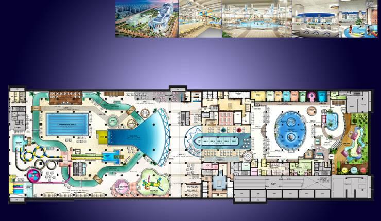 웅진플레이도시 워터파크: 협진엘엔씨(주) /H L&C CO.,LTD의  정원 수영장,