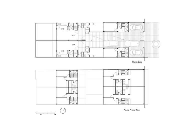 Diseño de 4 Viviendas con Patio en La Plata por por SMF Arquitectos:  de estilo  por SMF Arquitectos  /  Juan Martín Flores, Enrique Speroni, Gabriel Martinez