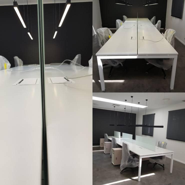 Bench para 6 personas: Oficinas y tiendas de estilo  por SIMPLEMENTE AMBIENTE mobiliarios