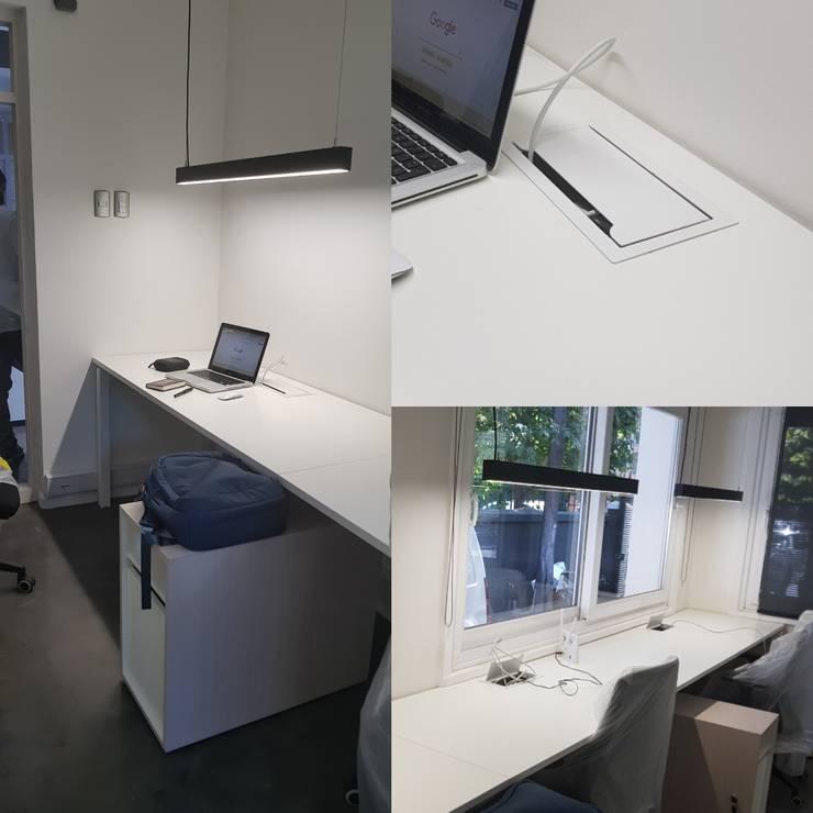 Bench lineal para 3 personas: Oficinas y tiendas de estilo  por SIMPLEMENTE AMBIENTE mobiliarios