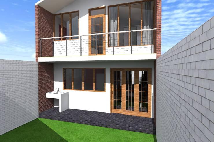 Fachada posterior : Casas pequeñas de estilo  por ARDI Arquitectura y servicios