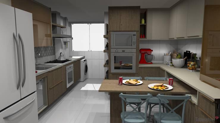 Area de jantar e fornos: Armários e bancadas de cozinha  por Ana Adriano Design de Interiores