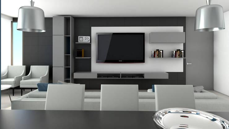 centro de entretenimiento: Salas / recibidores de estilo  por Proyectos C&H C.A
