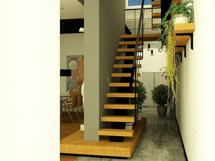 CASA LASERRE – RECICLAJE Y AMPLIACION DE VIVIENDA ANTIGUA: Escaleras de estilo  por viviendas de autor,