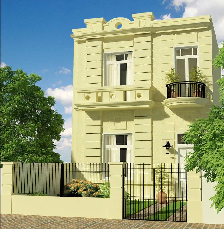 CASA LASERRE – RECICLAJE Y AMPLIACION DE VIVIENDA ANTIGUA: Casas unifamiliares de estilo  por viviendas de autor,