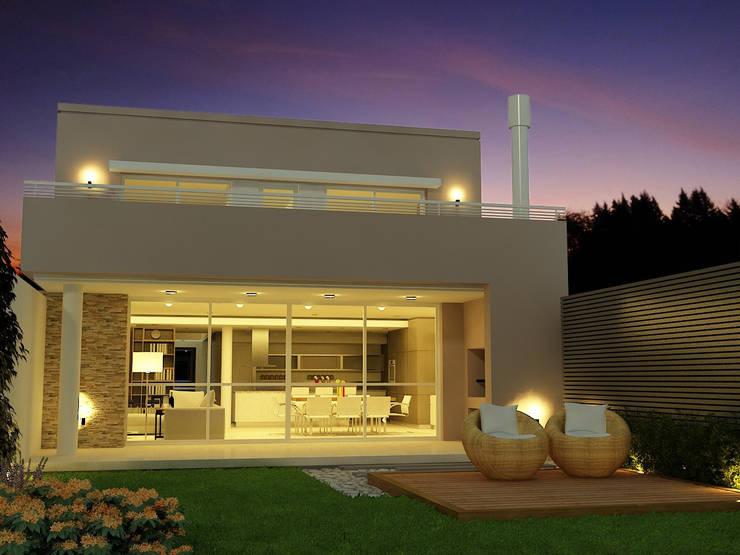 CONTRAFRENTE NOCHE: Casas unifamiliares de estilo  por viviendas de autor,