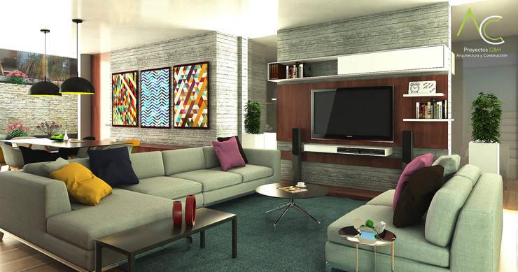 Sala Principal: Salas de entretenimiento de estilo  por Proyectos C&H C.A