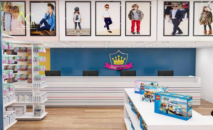 Area de Caja: Tiendas y espacios comerciales de estilo  por Proyectos C&H C.A