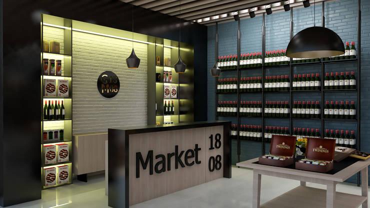 Area de Caja : Tiendas y espacios comerciales de estilo  por Proyectos C&H C.A