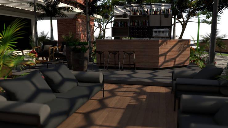 Area de Bar: Tiendas y espacios comerciales de estilo  por Proyectos C&H C.A