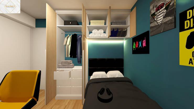 Dormitorio para Renzo: Dormitorios de estilo  por Lucero Pardo M. - Diseñadora de Interiores,