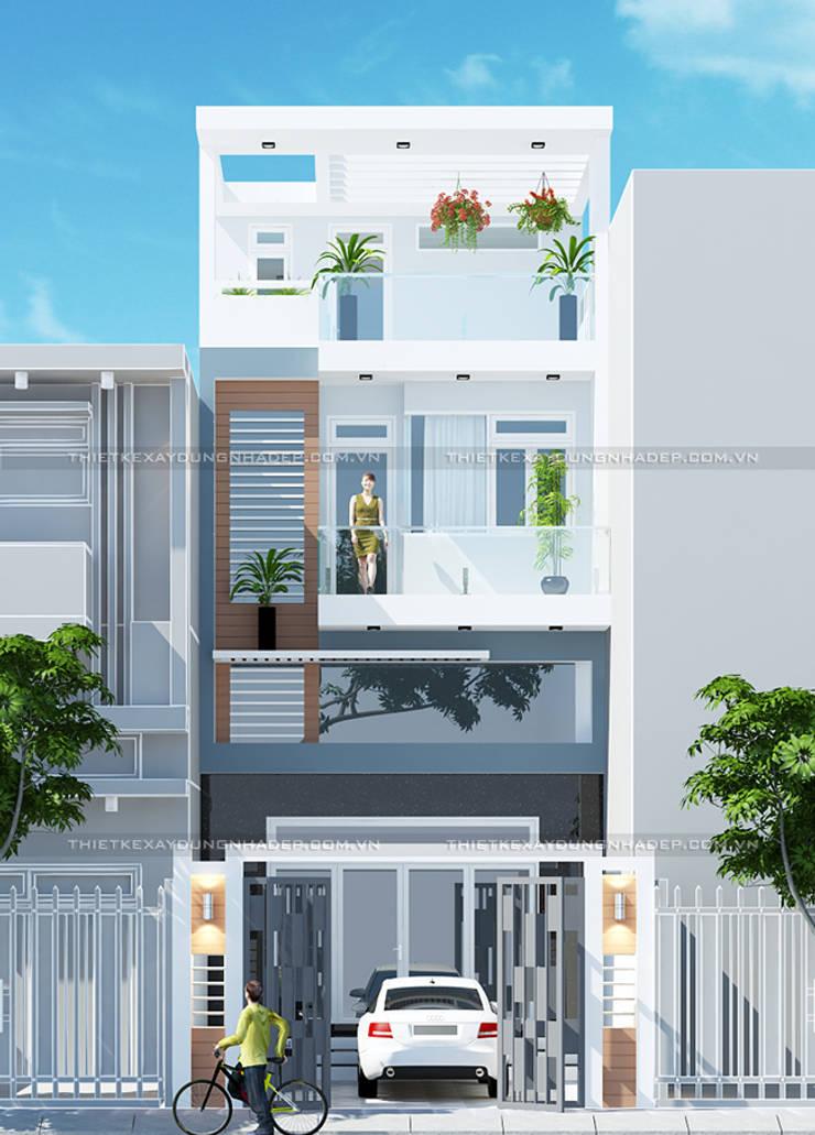 Nhà ống mặt tiền 5m có tầng lửng:  Nhà by Công ty cổ phần tư vấn kiến trúc xây dựng Nam Long
