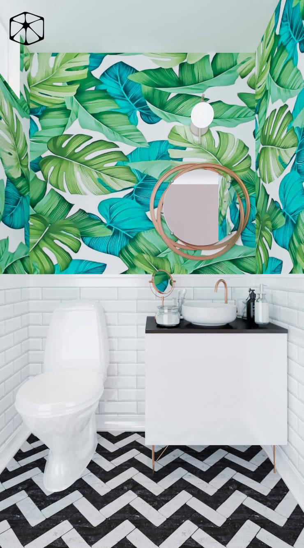 BAÑO DE VISITAS: Baños de estilo  por STUDIO ZINKIN, Ecléctico Azulejos