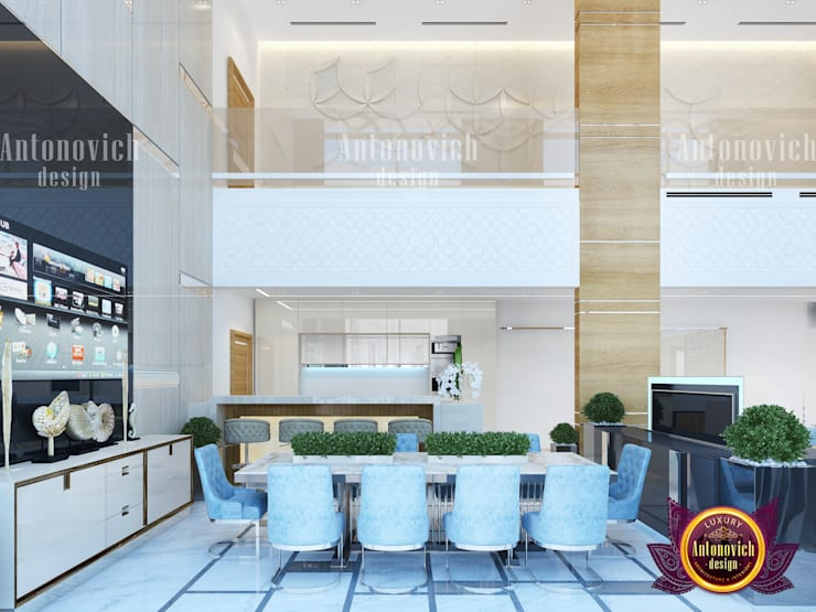 Elegant Modern Office Dining Area with Panrty :   by Luxury Antonovich Design
