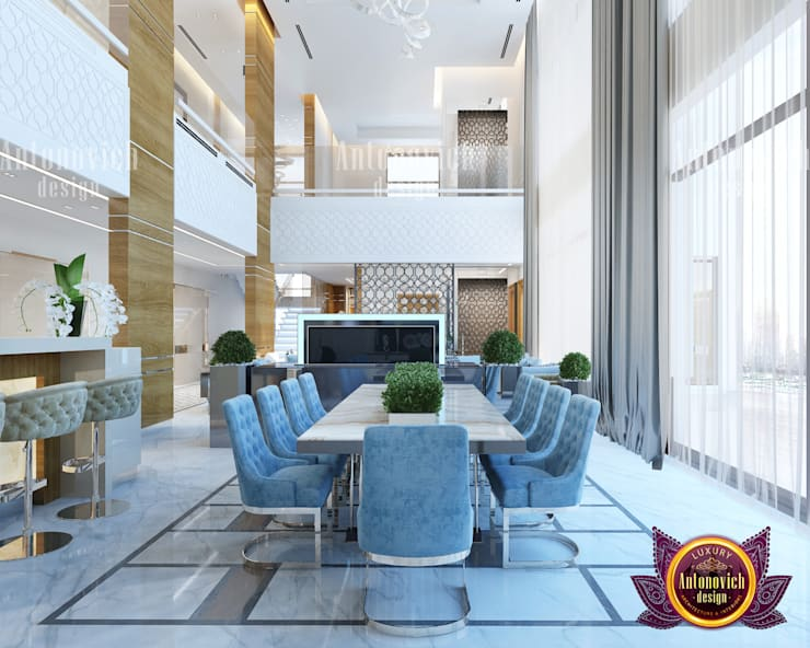 "Elegant Modern Office Dining Area with Panrty : {:asian=>""asian"", :classic=>""classic"", :colonial=>""colonial"", :country=>""country"", :eclectic=>""eclectic"", :industrial=>""industrial"", :mediterranean=>""mediterranean"", :minimalist=>""minimalist"", :modern=>""modern"", :rustic=>""rustic"", :scandinavian=>""scandinavian"", :tropical=>""tropical""}  by Luxury Antonovich Design,"
