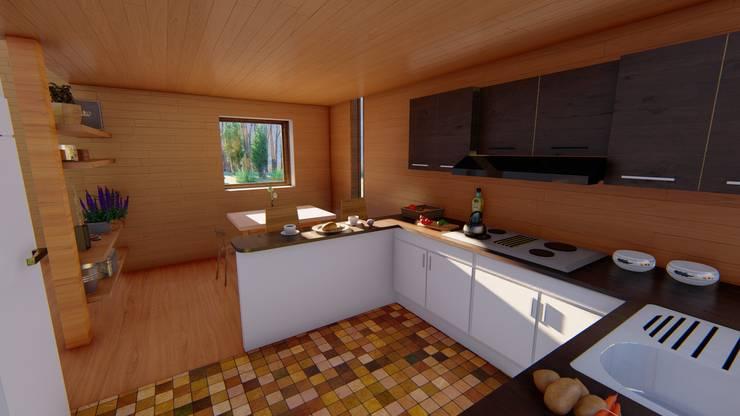 Diseño de Cabaña Rural en Coquimbo: Cocinas equipadas de estilo  por Ekeko arquitectura  - Coquimbo