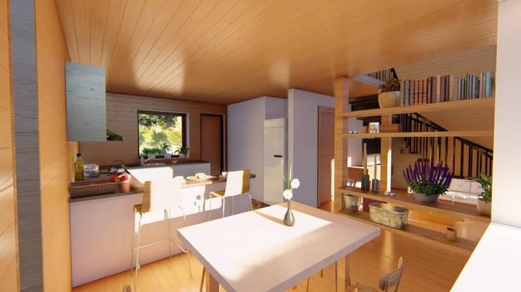 Diseño de Cabaña Rural en Coquimbo: Comedores de estilo  por Ekeko arquitectura  - Coquimbo