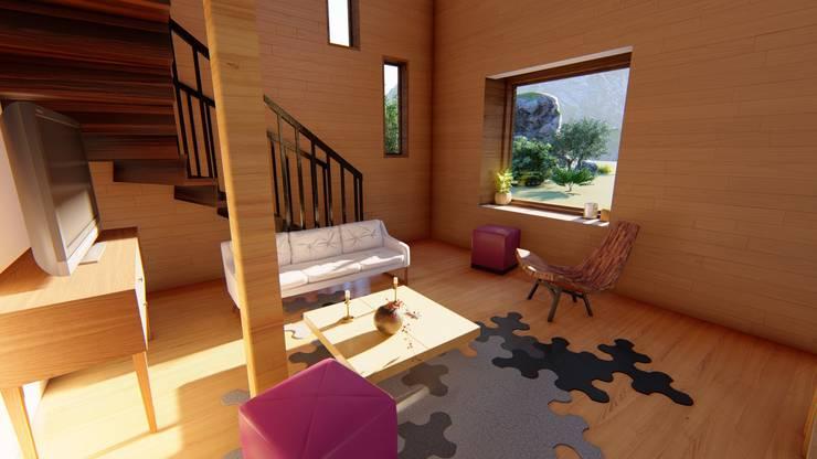 Diseño de Cabaña Rural en Coquimbo: Livings de estilo  por Ekeko arquitectura  - Coquimbo