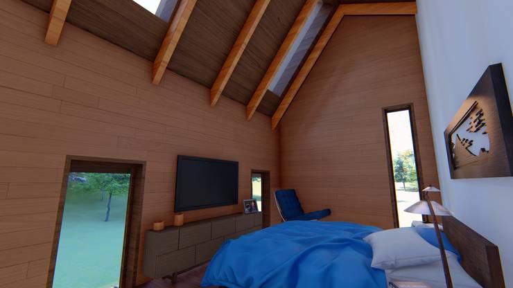 Diseño de Cabaña Rural en Coquimbo: Dormitorios de estilo  por Ekeko arquitectura  - Coquimbo